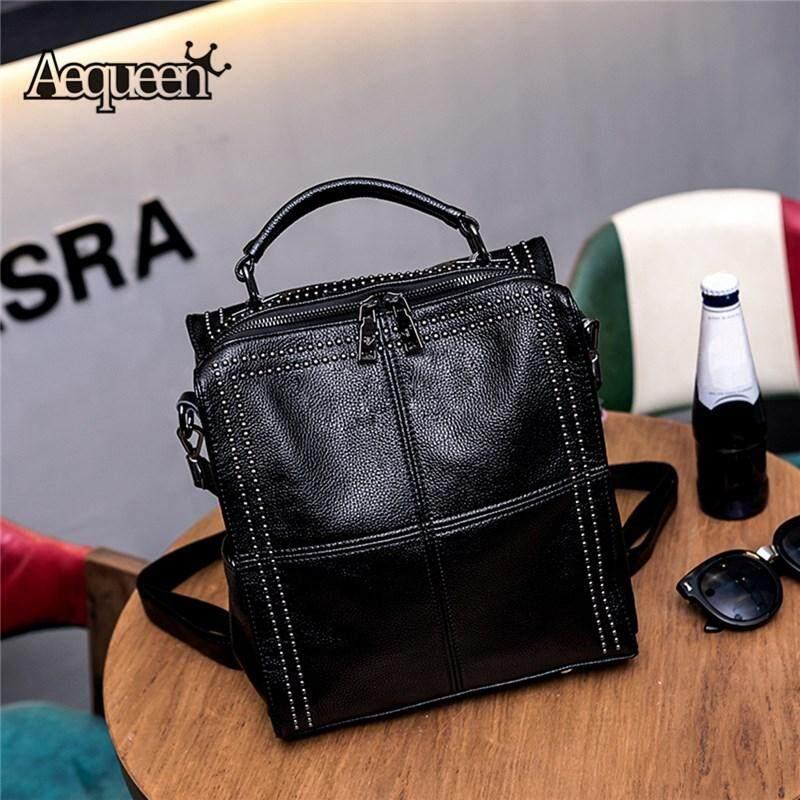 AEQUEEN Women Rivet Backpack Genuine Leather School Bags For Teenage Girl Female Vintage Backpack Large Capacity