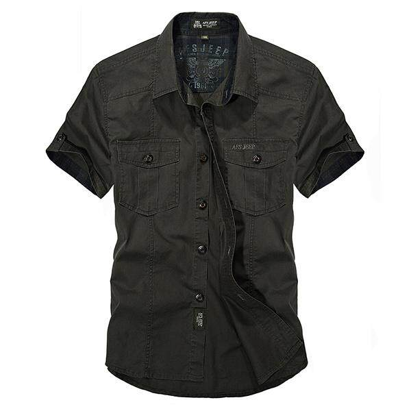 Afsjeep Outdoor Sport Cotton Breathable Multi Pocke Cargo Short Sleeve Dress Shir For Men Army Green
