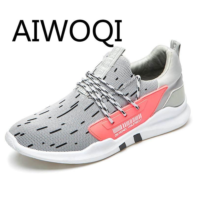 Aiwoqi Pria Wanita Sepatu Lari Terbaik 2017 Pecinta Sepatu Lari Pasangan Modis Kasual Sneakers Bernapas Menjalankan
