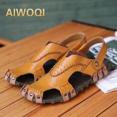 Aiwoqi Sport Sandals Genuine Leather Summer Shoes Men Slippers High Quality Casual Beach Shoes Flip Flops Hiking Shoes - Intl By Iswell.