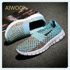 Aiwoqi Woven Sandals Unisex Ultra Lightweight Multicolor Woven Sneaker Slip-On Shoe By Iswell.