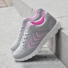 Allwin Kasual Bernapas Mesh Nyaman Menjalankan Olahraga Sepatu Pakaian Sehari-hari Sneakers Grey & Pink 36-Intl