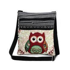 Amart Fashion Ethnic Style Women Messenger Bags Dual Zipped Cartoon Owl Embroidered Shopping Dating Shoulder Bag