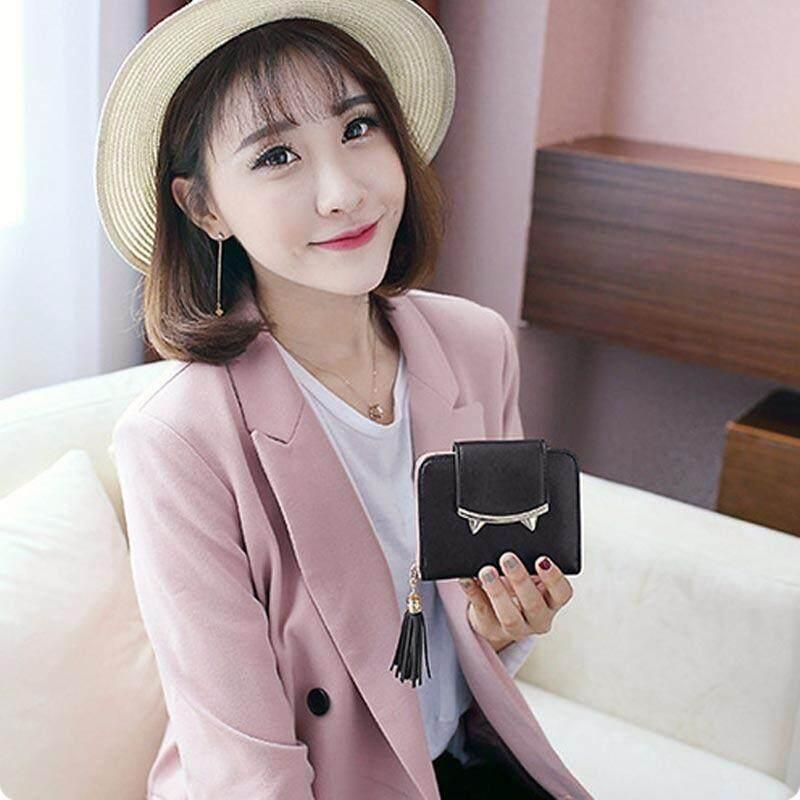 Amart Fashion Mini Women Wallet Leather Cat Ears Tassels Decorate Purse Short Clutch Wallets Money Bag