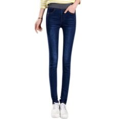 bcd3399a1b776 Amart Fashion Spring Fall Women Jean Trouser Elastic High Waist Denim Pants  Slim Casual Pencil Plus
