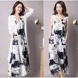 7cd6ef846f Amart Fashion Women 2 Pcs  Set Long Sleeveless Dress + Cardigan Clothing  Sets Print Soft Cotton Linen Suits(Blue)