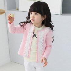 Amart Girls Slim Coat Cardigan Sweater Infant Knitted Lace Splice Jacket(pink) By Amart.