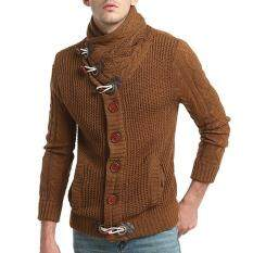 Amart Korean Fashion Men Horns Button Sweater Coat Knitted Cardigan Outerwear Tops (Beige)