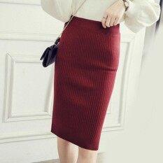 Amart Korean Fashion Women Knitted Pencil Skirts Stretch High Waist Knee  Length Slim Office Bodycon Long 88e9564c0
