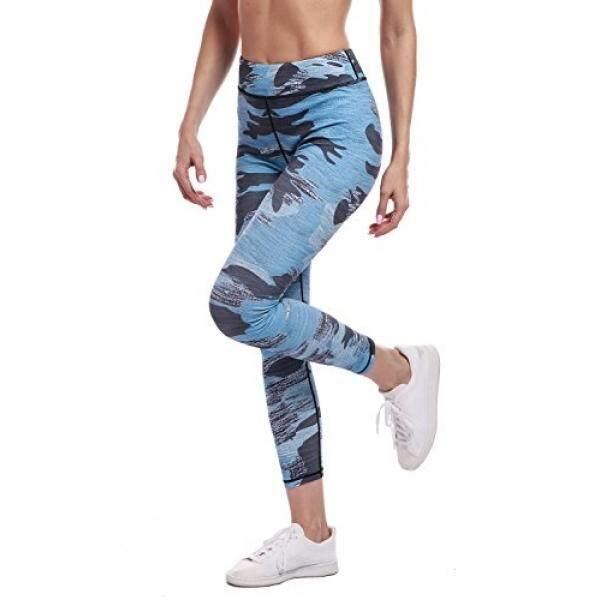 Amesport Amesport Wanita Tinggi Pinggang Legging Dicetak Camo Panjang Penuh untuk Yoga Jogging Kerja-Biru, S-Internasional