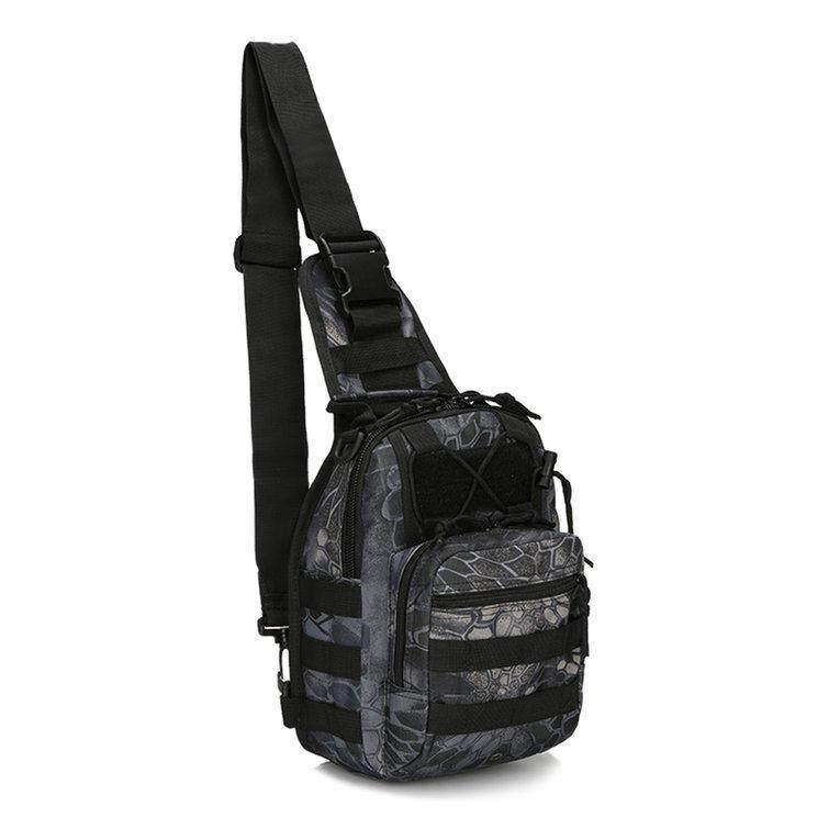 ANGEL Large Capacity Chest Pack Outdoor Sports Backpack Shoulder Crossbody Bag Black Python - intl
