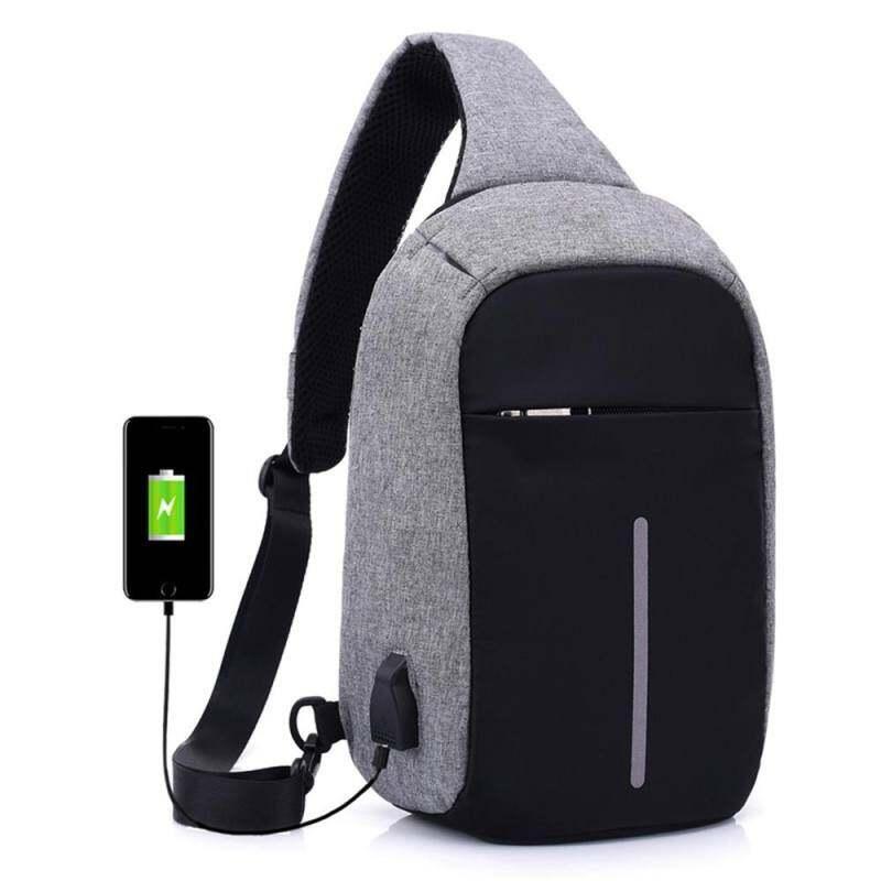 JJY86FCDD Anti-Theft Bahu Selempang Tas dengan Pengisi Daya USB Eksternal Tas Selempang Dada Reflektif