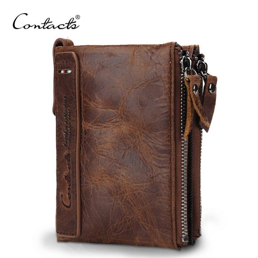 AnyCare Men Genuine leather wallet Crazy Horse Cowhide Leather Men Wallet Coin Purse Small Vintage Wallet