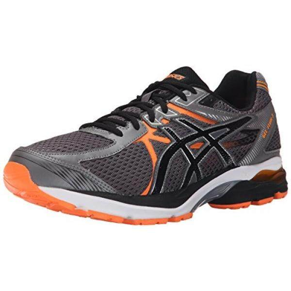 ASICS Mens GEL Flux 3 Running Shoe, Carbon/Black/Hot Orange, US - intl