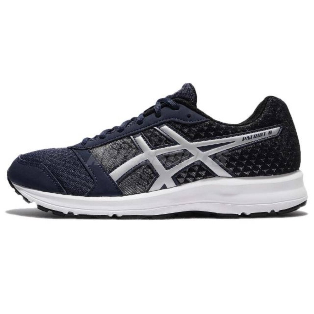 timeless design 9284e a6829 Asics Patriot 8 Insignia Blue Black Silver Men Running Shoes Sneakers