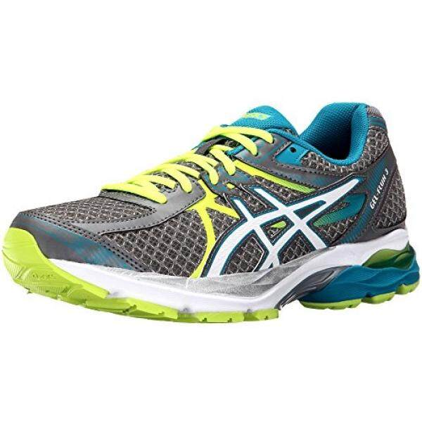 ASICS Womens Gel-Flux 3 Running Shoe, Titanium/White/Enamel Blue, 7 D US - intl