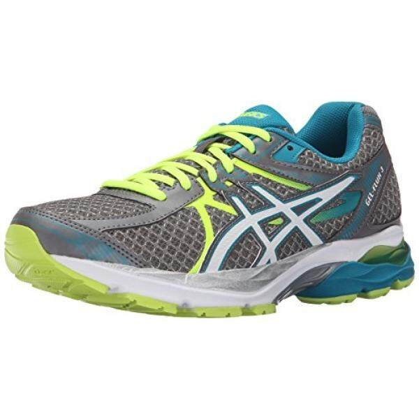 ASICS Womens Gel-Flux 3 Running Shoe, Titanium/White/Enamel Blue, 7.5 D US - intl