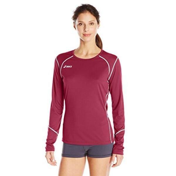 Asics Wanita Volleycross Bomber Lengan Panjang Jersey, Kardinal/Baja Grey,-Internasional