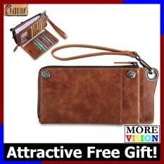 304df4d828525 Pabojoe Genuine Cowhide Leather Men Long Wallet Bag Brown Latest