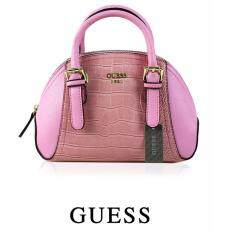 Authentic Guess Croc Effect Small Satchel Pink