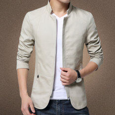 Autumn New Korean Slim Collar Cotton Washed Jacket(beige) By Hello Clothing Store.
