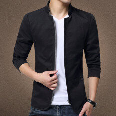 Autumn New Korean Slim Collar Cotton Washed Jacket(black) By Hello Clothing Store.