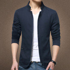 Autumn New Korean Slim Collar Cotton Washed Jacket(navy Blue) By Hello Clothing Store.