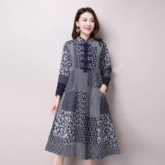 afb525dc9 Autumn New Women's National Wind Casual Long Sleeve Cotton Linen Dress Plus  Size Long Linen Dresses