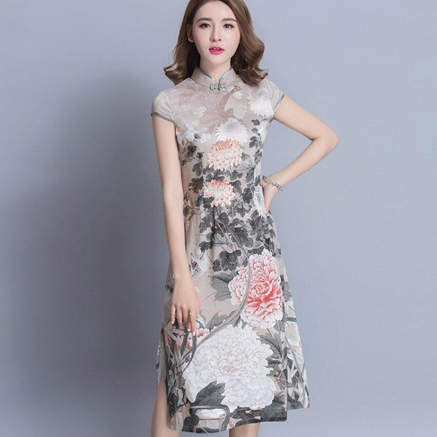 AW 2017 Musim Semi dan Musim Panas Baru Cina Gaya Nasional Chiffonlong Bagian Cheongsam Gaun Plus
