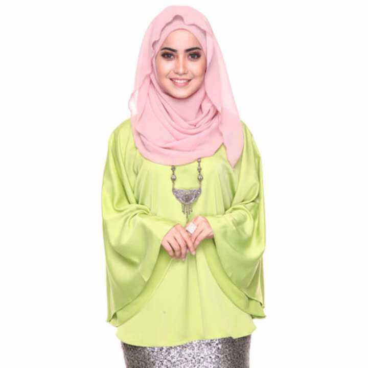 Azzara Cottons Silky Kaftan Top - Apple Green