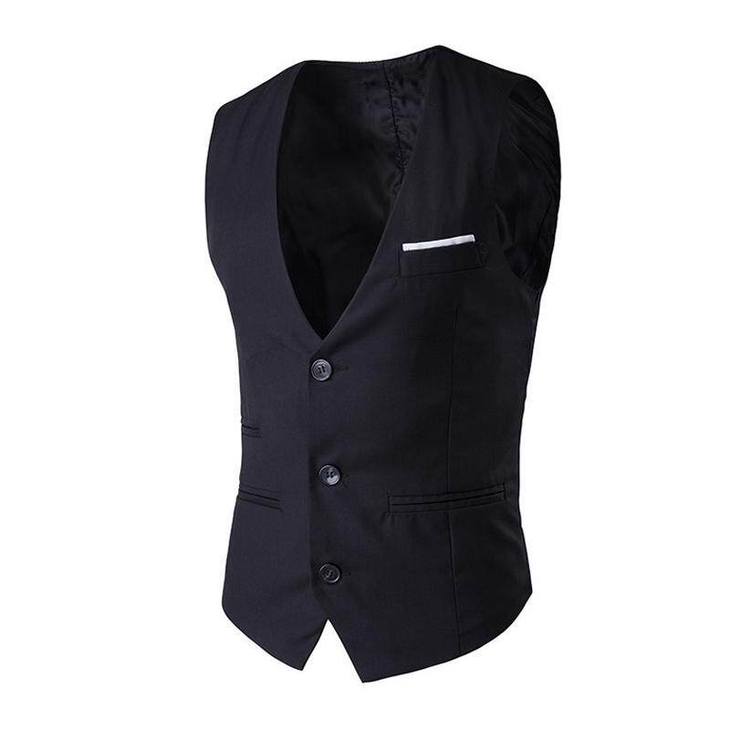 a0cb0395eb3d B-F New Men Vest Slim Fit Suit Waistcoat Casual Sleeveless Formal Business  Gilet Homme(Black