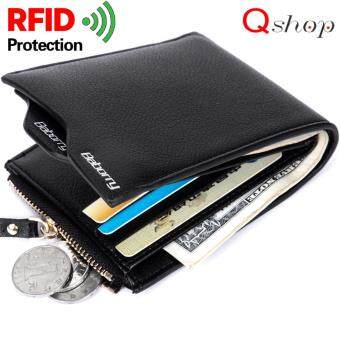 Q-shop Men Short Zipper Wallet,Premium quality RFID Theft Protection Wallet Men's Soft PU Leather Bifold Wallet(Black)