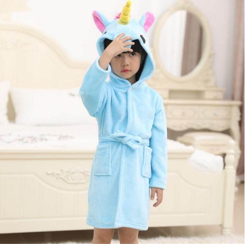Best Offer Baby Bath Robe Bathrobe Boys Girls Pyjamas Unicorn Hooded Sleepwear Children Winter Dressing Gown Home Clothes Intl