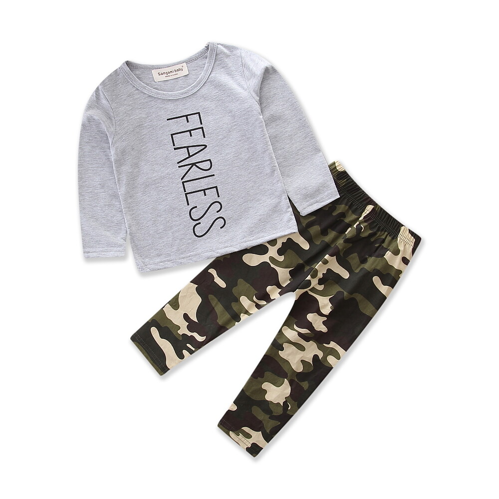 f2a3cd6039e23 Baby Boy Clothes Grey Cotton T-shirt+camouflage Pants 2pcs Autumn Toddler Boys  Clothing