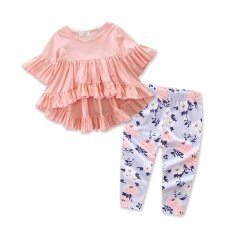 cbe037edee25 Baby Girl Clothes Summer New Style Cute Girls Clothing Set Pink Fashion  Irregular Tops+Floral
