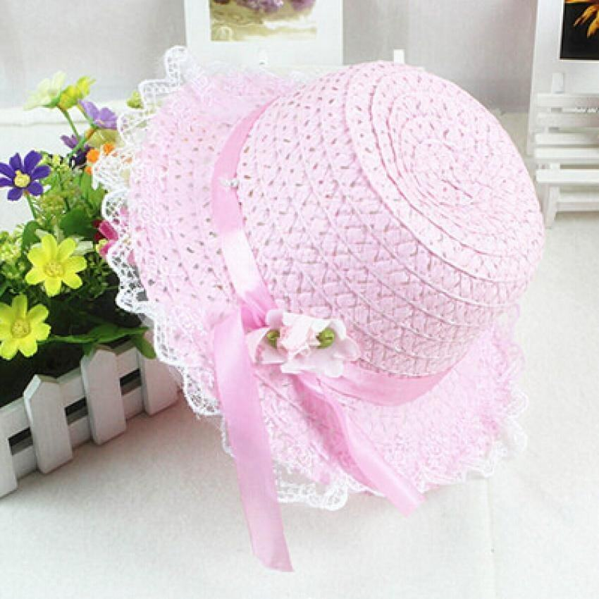 Giá bán Baby Girls Children Kids Lace Flower Hat Node Brim Summer Beach Sun Straw Cap Pink - intl