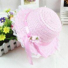 Baby Girls Children Kids Lace Flower Hat Node Brim Summer Beach Sun Straw Cap Pink – intl