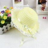 Baby Girls Children Kids Lace Flower Hat Node Brim Summer Beach Sun Straw Cap Yellow