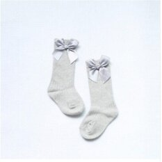Giá bán Baby Socks Knee High with Bows Cute Baby Socks Long Tube Kids Leg Warmer Grey M:2-4years - intl