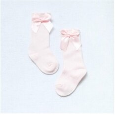 Giá bán Baby Socks Knee High with Bows Cute Baby Socks Long Tube Kids Leg Warmer Pink S:0-2years - intl