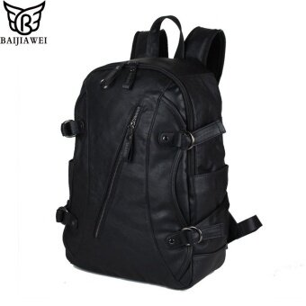 BAIJIAWEI New Best New Men Oil Wax PU Leather Backpack Men s Leather  Backpack   Travel Bags e0129d1cdd622