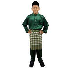 004bm - Baju Melayu Soft Cotton Budak - Emerald Green By Pycollection.
