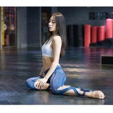 Perban Celana Yoga Dipotong Legging Fitness Wanita Capris Olahraga untuk Menari