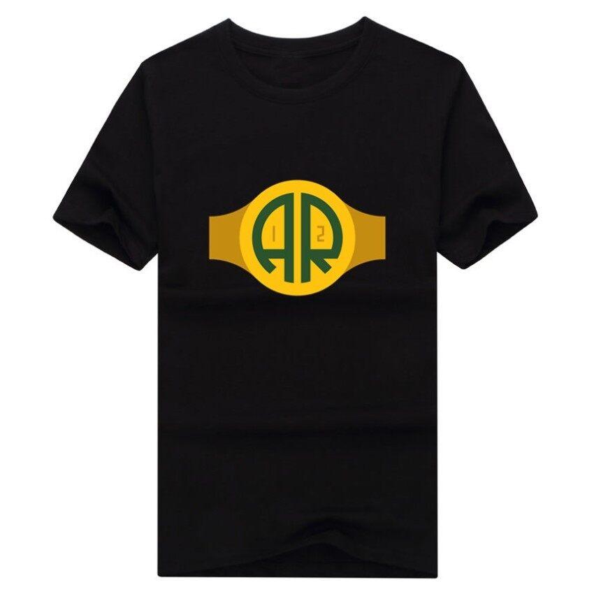Banshan Pria Bay QB Aaron Rodgers Kaos Katun Streewear Pop Lengan Pendek Laki-laki Kaos Kaus Atasan Hitam-Intl