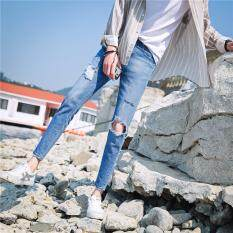 7eb96b5166 BEKETHIA New Black Ripped Jeans Men With Holes Denim Super Skinny Famous  Designer Brand Slim Fit