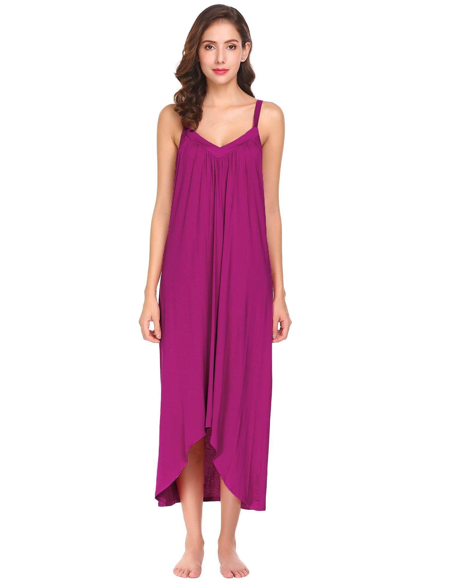 77ede798a785 Best Seller Sunweb Women V-Neck Spaghetti Strap Irregular Hem Solid Sleep  Dress(Black