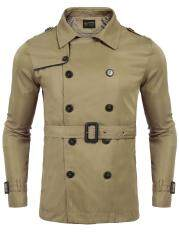 Best Seller Sunwonder Men Turn Down Collar Double Breasted Solid Casual Trench Coat W/ Belt(black) By Sunwonder.