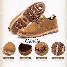 Terbaik Jual Kepala Besar Sepatu Kulit, Sepatu Pria, Pria Sepatu Kasual Bisnis, Tebal Retro Sepatu Pria Kuning