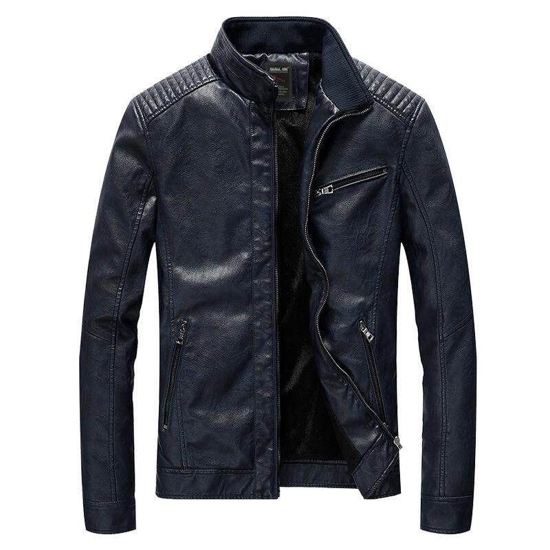 Big and Tall Mens Clothing Men's PU Leather Jacket Motorcycle Jackets Leather Men Coat Spring and Autumn Outwear Man - intl