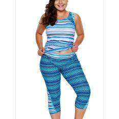 c0627f36de1 Big Size Woman Swimsuit Two-pieces Sets Tank+Pants Swimwear Plus Size Beach  Wear